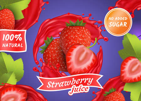 Realistic Detailed 3d Berries with with Splash Juice. Vector