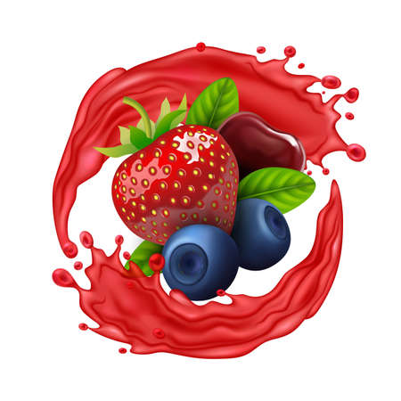 Realistic Detailed 3d Raw Berries with Splash Juice. Vector Illustration