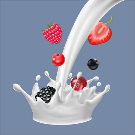 Realistic Detailed 3d Raw Berries with Flow Milk. Vector
