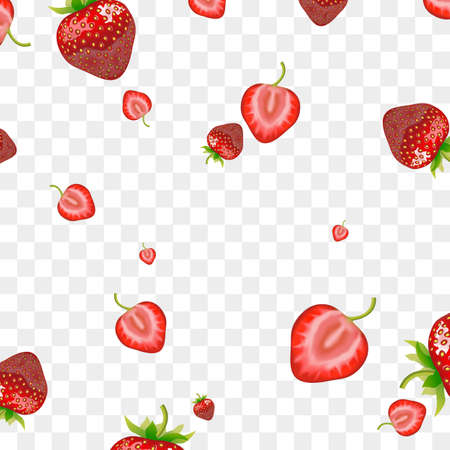 Realistic Detailed 3d Red Strawberry Seamless Pattern Background. Vector Ilustração