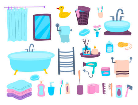 Cartoon Color Bathroom Elements Icons Set. Vector Ilustração