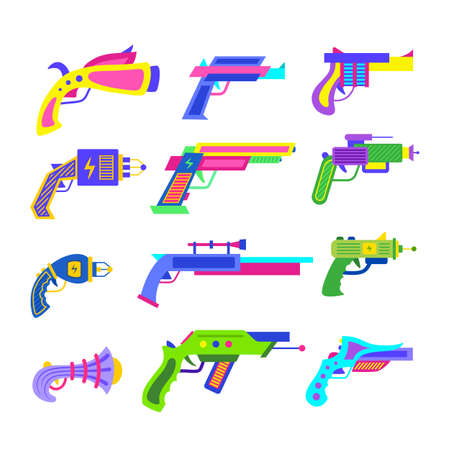 Cartoon Color Different Guns Icons Set. Vector