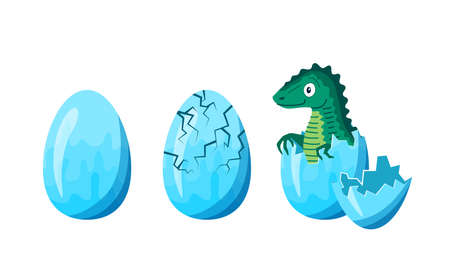Cartoon Color Dinosaur Hatching Icons Set. Vector