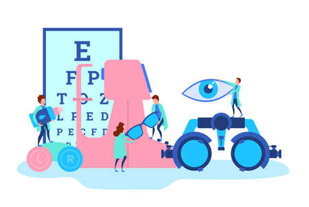 Cartoon Color Characters People and Eye Doctor Concept. Vector Illustration
