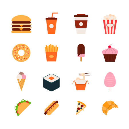 Cartoon Color Fast Food Icons Set. Vector