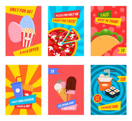 Cartoon Color Fast Food Concept Placard Template Banner Set. Vector