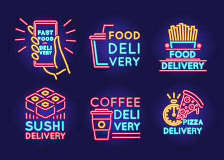 Food Delivery Neon Color Thin Line Icon Set. Vector Ilustração