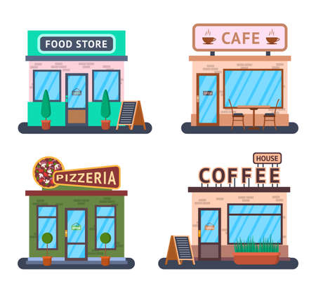 Cartoon Color Food Shop Store Concept. Vector