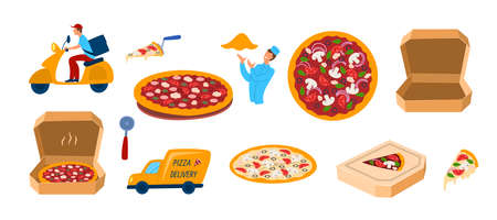 Cartoon Color Different Pizza Icons Set. Vector