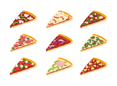 Cartoon Color Different Pizza Slices Icons Set. Vector