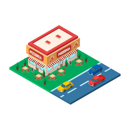 Pizzeria Building Concept 3d Isometric View. Vector