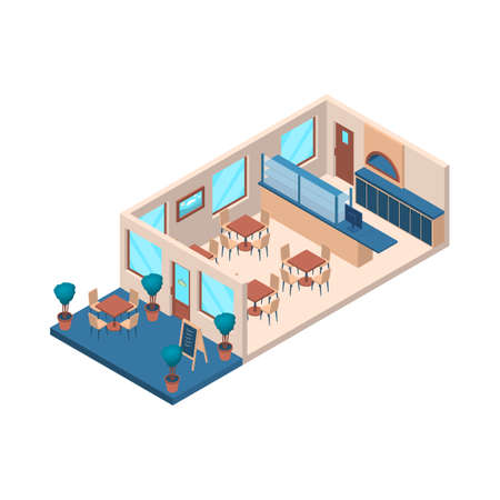 Pizzeria Interior with Furniture Isometric View. Vector Ilustração