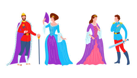 Cartoon Color Characters People Royal Family Set Concept. Vector