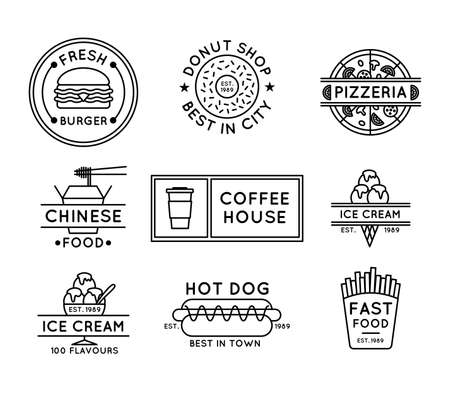 Street Food Sign Concept Black Thin Line Label Badge Set. Vector Ilustração