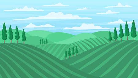 Cartoon Color Tuscan Wine Field Landscape Scene Concept. Vector 免版税图像 - 156105567