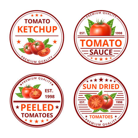 Cartoon Color Tomato Ketchup Sauce Label Badge Sign Set Concept Flat Design Style. Vector Ilustração