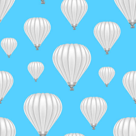Realistic Detailed 3d White Blank Ballon Seamless Pattern Background. Vector