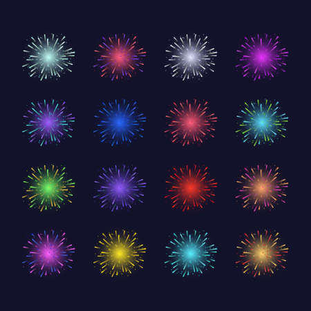 Realistic Detailed 3d Color Light Fireworks Animation Set. Vector Ilustração