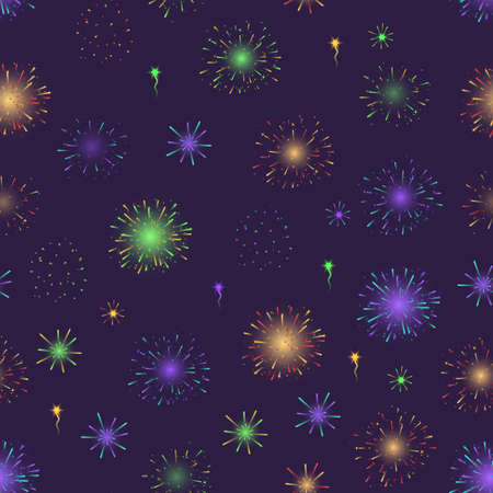Realistic Detailed 3d Light Fireworks Seamless Pattern Background. Vector