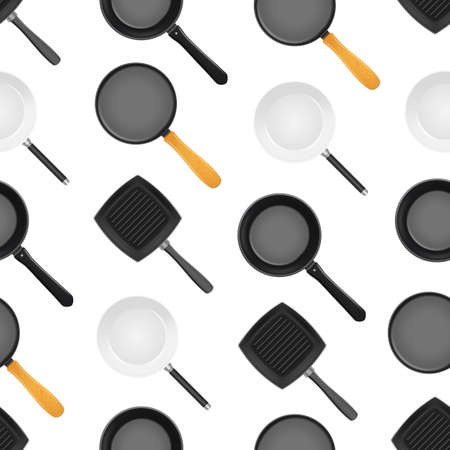 Realistic 3d Detailed Frying Pan Seamless Pattern Background. Vector Ilustração