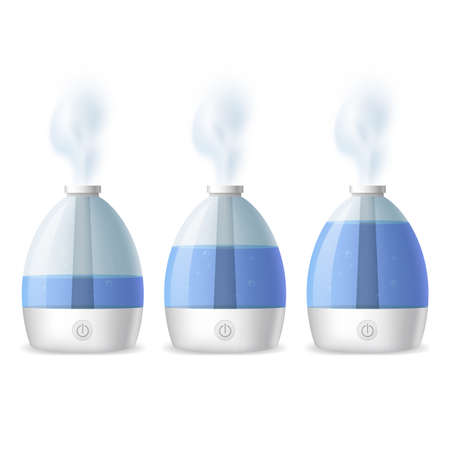 Realistic 3d Detailed Working Humidifier with Water Set. Vector