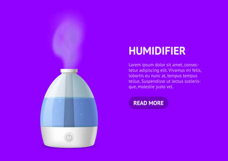Realistic 3d Detailed Working Humidifier with Water Card. Vector