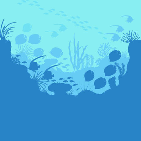 Cartoon Underwater Blue Ocean Background Scene . Vector Ilustração
