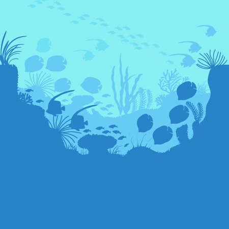 Cartoon Underwater Blue Ocean Background Scene . Vector