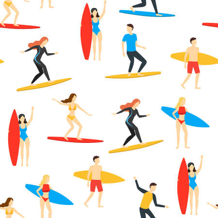 Cartoon Different Characters People Surfers Seamless Pattern Background. Vector