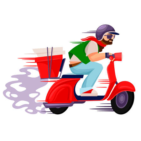Cartoon Color Character Person Male Pizza Delivery Man Concept. Vector