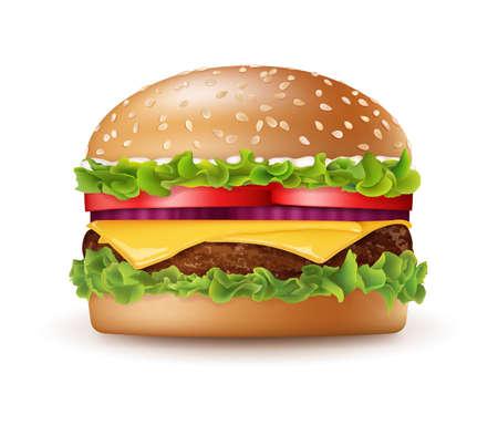 Realistic Detailed 3d Tasty Big Burger. Vector