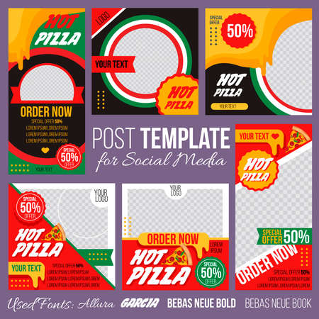Cartoon Color Hot Pizza Concept Placard Template Banner Set. Vector