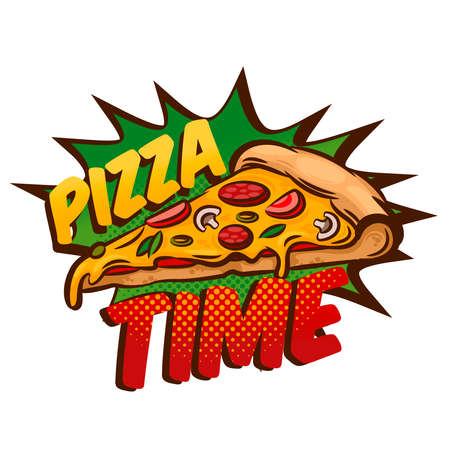 Cartoon Color Pizza Slices Label Badge Sign. Vector