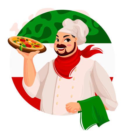 Cartoon Color Character Person Male Chef Pizza Concept. Vector