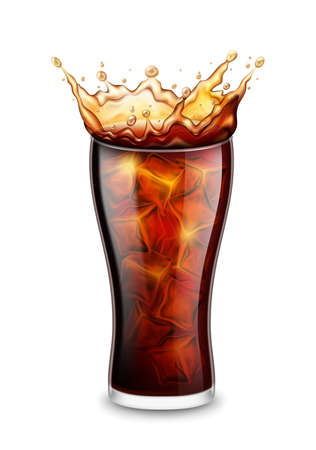 Realistic Detailed 3d Glass with Splash of Drink and Ice Cubes. Vector Ilustração
