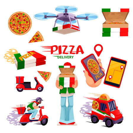 Cartoon Color Pizza Delivery Service Icons Set. Vector