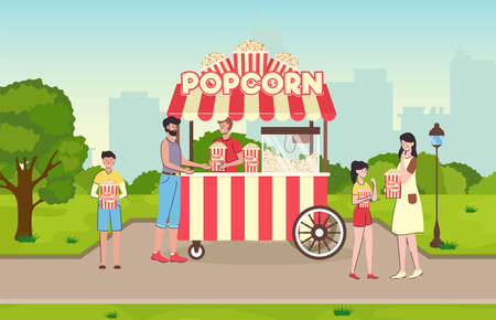 Cartoon Color Characters People Eating Popcorn Concept. Vector