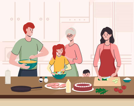 Cartoon Color Characters People and Family Cooking Concept. Vector
