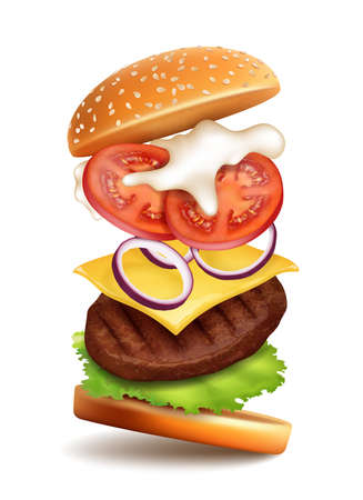 Realistic Detailed 3d Flying Tasty Burger. Vector