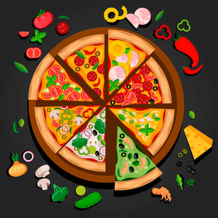 Cartoon Color Slice of Pizza Make Create Concept. Vector