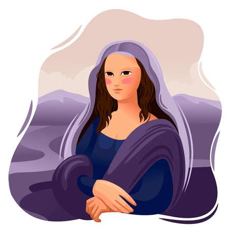 Cartoon Color Character Person Mona Lisa Renaissance Concept. Vector