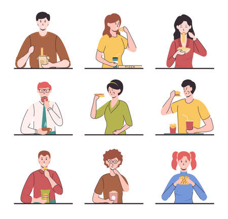 Cartoon Color Characters People Eating Different Meals Concept. Vector
