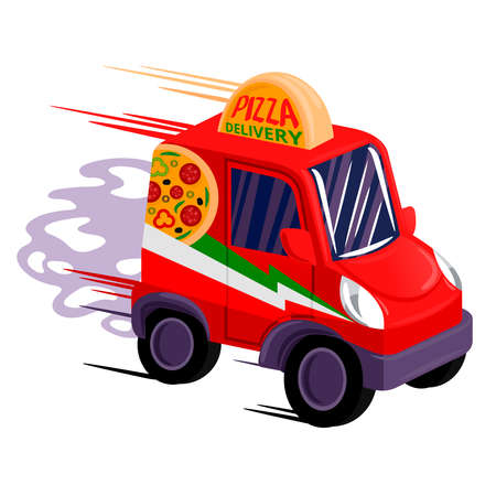 Cartoon Color Fast Pizza Delivery Car. Vector