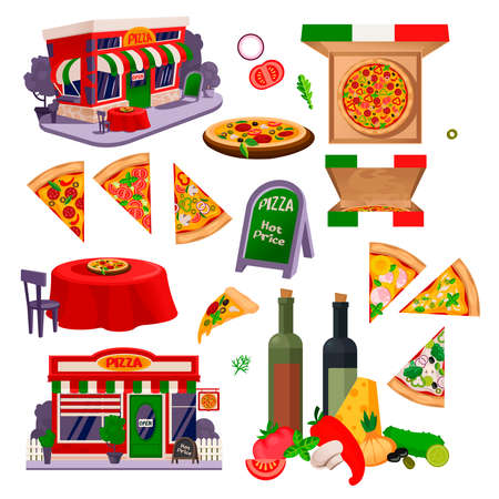 Cartoon Color Pizza Making Icons Set. Vector Ilustração
