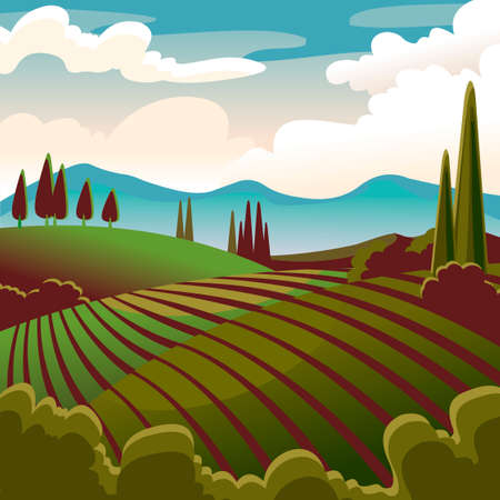 Cartoon Color Rural Landscape Scene Concept. Vector