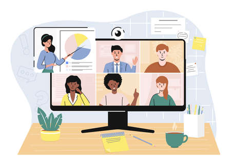 Cartoon Color Characters People and Video Conference Remote Working Concept. Vector