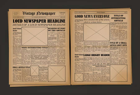 Old Vintage Newspaper Cover Page Empty Template Mockup Design. Vector Ilustração