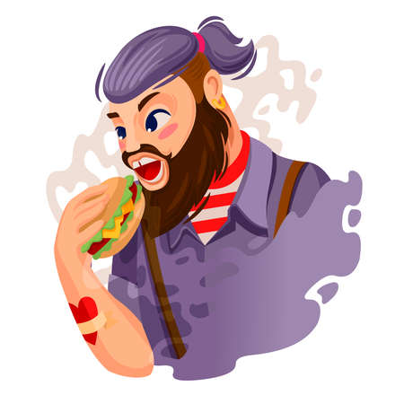 Cartoon Color Character Person Hipster Man Eating Burger Concept. Vector
