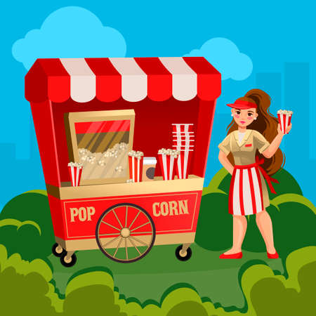 Cartoon Color Character Person Woman Sells Pop Corn Concept. Vector