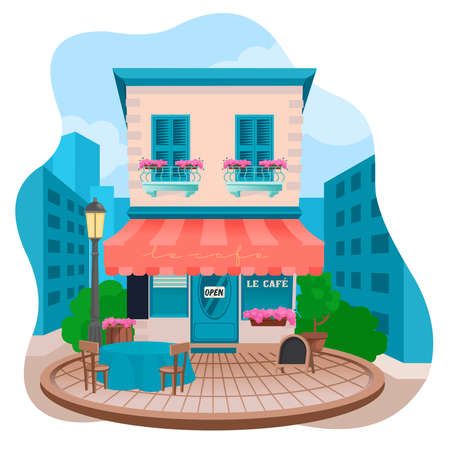 Cartoon Color Facade of Tavern on a Street Concept. Vector